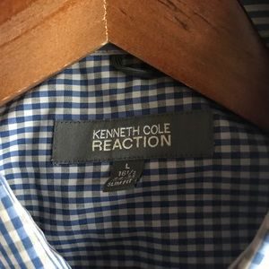 Kenneth Cole Reaction men's blue checked button-up